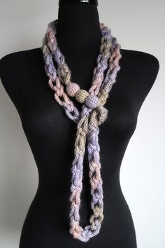 Pale Sage Pink Lilac Lavender Violet Pastel Colors Chunky Cords Ropes Crochet Chains Lariat Bib Statement Necklace with Crochet Wooden Beads Knitted Necklace, Fabric Necklace, Fabric Jewelry, Crochet Rings, Crochet Chain, Crochet Hooded Scarf, Crochet Scarves, Spool Knitting, Crochet Flower Patterns