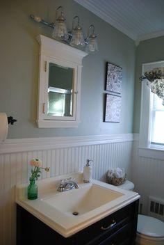 Mid Century Beadboard Bathroom Interior Design Feats Mounting Medicine  Cabinet : Chatodining