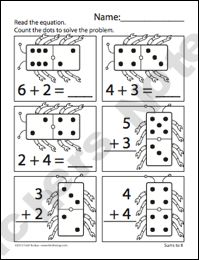 math worksheet : domino addition  set of 8 worksheets for early addition concepts  : Counting On Addition Worksheets
