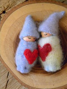 Valentine Gnome Babies Waldorf Toy Ornament by MamaWestWind