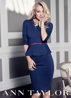 navy peplum skirt-suit w/ skinny belt // Kate Hudson for Ann Taylor Fall '12