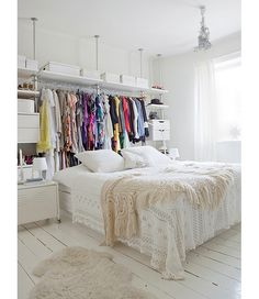 Living in a room without a closet? These tips are sure to ease your closet-less struggle.