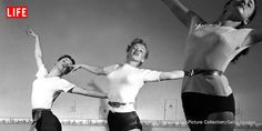 Marilyn Monroe, age 22, takes dance lessons in Hollywood in 1949. See more photos