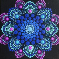 Flower burst dot mandala on black 6 x 6 canvas board blue magenta turquoise Blume Burst Punkt Mandala auf schwarz 6 x 6 Mandala Design, Mandala Pattern, Mandala Painted Rocks, Mandala Rocks, Flower Mandala, Mandalas Drawing, Art Chakra, Art Lotus, Bottle Cap Crafts