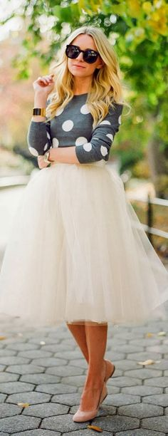 Polka dot sweater and tulle skirt