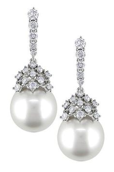 South Sea Pearl, Diamond and 18K White Gold Earrings