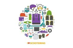 Scootering Lifestyle Set. Clothes Icons. $6.00