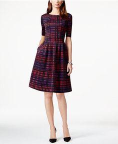 Jessica Howard Pleated Printed A-Line Dress - Dresses - Women - Macy's