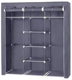 SONGMICS Canvas Wardrobe Bedroom Furniture Cupboard Clothes Storage Organiser Gray 175 x 150 x 45 cm Wardrobe Storage, Clothing Storage, Wardrobe Closet, Closet Storage, Storage Shelves, Canvas Wardrobe, Wardrobe Furniture, Wardrobe Cabinets, Bedroom Furniture