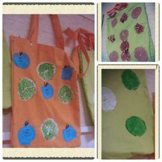 Kirjastokassi. Painettu omenoilla ja appelsiineilla. 3.lk  AHP