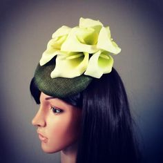 Fascinator hat headpiece  - smartie shaped sinamay base with flower trim made to order style