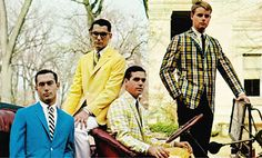This almost looks like a band photo. They could be the original Style Council. I've never seen ivy league style this colorful. An inspirational reference photo. Ivy Fashion, Fashion Images, Preppy Fashion, New England Prep, Ivy Look, Preppy Handbook, Ivy League Style, Preppy Boys, Ivy Style