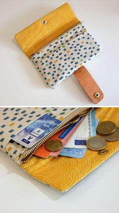"Free sewing pattern with sewing instructions: wallet .- Gratis Schnittmuster mit Nähanleitung (Freebook): Portemonnaie & Geldbörse ""Nina"" nähen Free sewing pattern with sewing instructions (Freebook): Sew wallet & purse ""Nina"" # Near makes you happy - Sew Wallet, Purse Wallet, Coin Purse, Diy Bags Purses, Purses And Handbags, Sewing Patterns Free, Free Sewing, Pattern Sewing, Free Pattern"