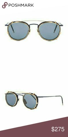 Thom Browne 710 optical glasses with sun clip on Navy blue metal frame with blue lenses  Made in Japan  Included in box, case and cleaning cloth Thom Browne Accessories Sunglasses