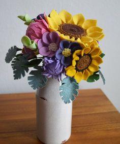 Heirloom Felt Flower Bouquet Sunflower Dahlia от ThistleandCrown