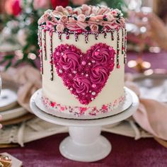Valentine heart buttercream cake with sprinkle drip Pretty Cakes, Beautiful Cakes, Amazing Cakes, Unique Cakes, Creative Cakes, Decoration Patisserie, Valentines Day Cakes, Just Cakes, Holiday Cakes