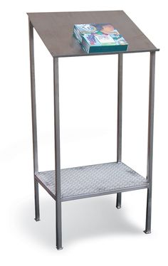 Stainless Steel Writing Table - This stainless steel writing table is ideal for a small space where a writing surface is needed. This is all welded and has a sloped writing surface to use. There is also a bottom shelf for extra storage. Stainless Steel Cabinets, Industrial Storage, Writing Table, Small Tables, Extra Storage, Storage Solutions, Small Spaces, Shelf, Surface