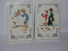 vintage  double deck playing cards spring / fall