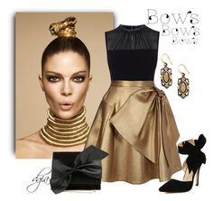 """""""Bows"""" by dgia ❤ liked on Polyvore featuring Karen Millen, Dice Kayek, Victoria Beckham and Armenta"""