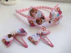 Disney frozen alice band hair headband set , two hair clips all handmade . Disney Headbands, Disney Bows, Alice Band, Kids Hair Accessories, Headband Hairstyles, Disney Frozen, Hair Band, My Hair, Hair Clips