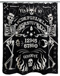 Inked Boutique - Skeleton Ouija Shower Curtain Occult Skeletons http://www.inkedboutique.com