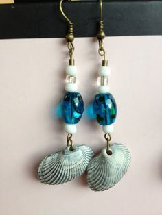 Dangle Earrings with Glass Beads and by aircooledclothes on Etsy, $15.00
