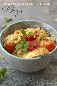 Tomato, Mozzarella and Basil Orzo - perfect for cold winter nights.