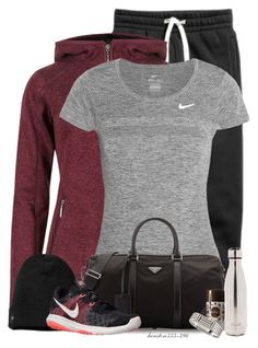 """Joggers!"" by houston555-396 ❤ liked on Polyvore featuring M&S Collection, NIKE, Prada, Smartwool, S'well, Lavanila and Tory Burch"