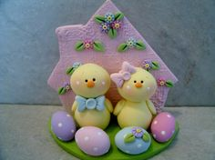 Easter Chicks  Figurines by countrycupboardclay on Etsy