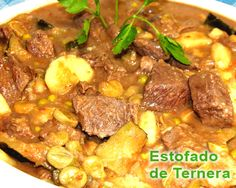 estofado de ternera - casero Spanish Food, Chana Masala, Pot Roast, I Foods, Curry, Dinner Recipes, Beef, Ethnic Recipes, Kitchen