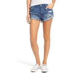 Women's Volcom Distressed Denim Shorts ($30) ❤ liked on Polyvore featuring shorts, blue, distressed denim shorts, relaxed shorts, relaxed fit denim shorts, volcom and blue jean short shorts