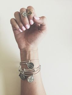nails | manicure | mani | polish | pink | charms | alex and ani | bangles | charmed arm | pretty | girl | accessories | hand | happy