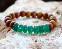 Sandalwood and Green Onyx Stretch Bracelet,Yoga Bracelet, Sandalwood Bracelet, Trendy Bracelet, Boho Bracelet, Green Onyx Bracelet, Stretch