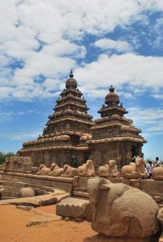 The Shore Temple, south of Chennai, India along the Bay of Bengal