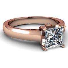 Princess  Round Cut Diamonds 14K Rose Gold Three Stone Engagement Ring In Prong Setting || Encrusted Basket Ring