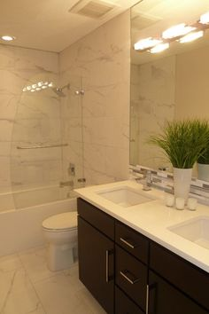 Contemporary Master Bathroom with Double sink, complex marble tile floors, European Cabinets, Ba1013, Flush, Ceramic Tile