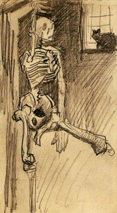 Skeleton by Vincent van Gogh Medium: pencil on paper