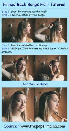 Pinned Back Bangs Hair Tutorial