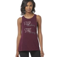 """Everlast Athletic Tank Top - Stop Wishing Boost your fitness fashion with this women's athletic tank top from Everlast. The sleeveless, boxy cut keeps this tank feeling cool and layering comfortably, while a """"Stop Wishing Start Doing"""" graphic adds inspirational pop. This cotton-blend jersey knit is lightweight and soft, keeping your workouts unencumbered. Scoop neck Sleeveless Screen-print design Jersey knit construction Fabric: 100% cotton Care: Machine wash Imported. More sizes available…"""