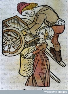 A man and a woman loading a cart, woodcut,1547. Ingenious male underwear prevents builder's bum syndrome.