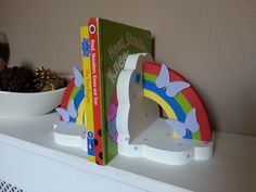 Cloud and rainbow Book Ends - Dancing Duck Designs Dancing Duck, Home Appliances, Rainbow, Clouds, Books, Design, House Appliances, Livros, Rainbows
