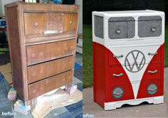 Restyled dresser to a VW Bus Dresser - Looks so great - no tutorial