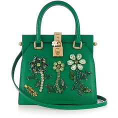 Dolce & Gabbana Dolce Lady crystal-embellished lizard-effect tote (286.165 RUB) ❤ liked on Polyvore featuring bags, handbags, tote bags, green, leather tote bags, handbags totes, floral tote bag, green leather handbag and genuine leather tote