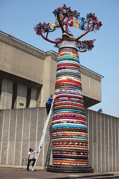 Giant Tree Sculpture Made of 80 Different Types of Fabric, 18 meters (or 46 feet) tall, Located Outside the Southbank Centre in London, England