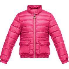 Moncler Lans Flap-Pocket Lightweight Down Puffer Jacket ($350) ❤ liked on Polyvore featuring outerwear, jackets, fuchsia, moncler jackets, lightweight quilted jacket, lightweight puffer jacket, stand collar jacket and nylon jacket