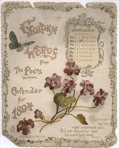 """""""Golden Words from the Poets - Calendar for January 1894"""""""