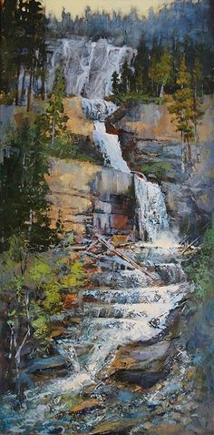 Tangle Falls Along HWY 93 by Linda Wilder Acrylic ~ 36 x 18