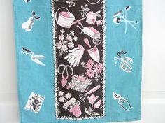 Vintage Tea Towel Garden Tools