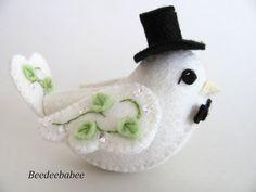 Bird Wedding Cake Topper por Beedeebabee en Etsy