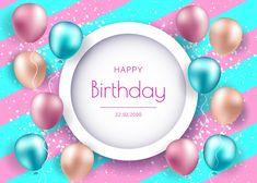 Banner de cumpleaños con globos realista... | Premium Vector #Freepik #vector #fondo #banner #cumpleanos #feliz-cumpleanos Happy Birthday 22, Birthday Background, Vector Freepik, Happy, Red Paper, Bar Graphs, Flyer Template, Powder Paint, Globes